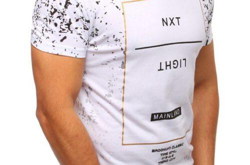 koszulka męska z modnym nadrukiem